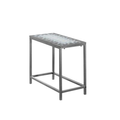 Jasmine 22 in. Grey/Blue/White Metal End Table