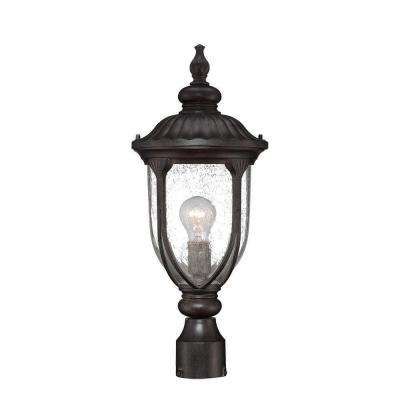 Laurens Collection 1-Light Black Coral Outdoor Post-Mount Light Fixture
