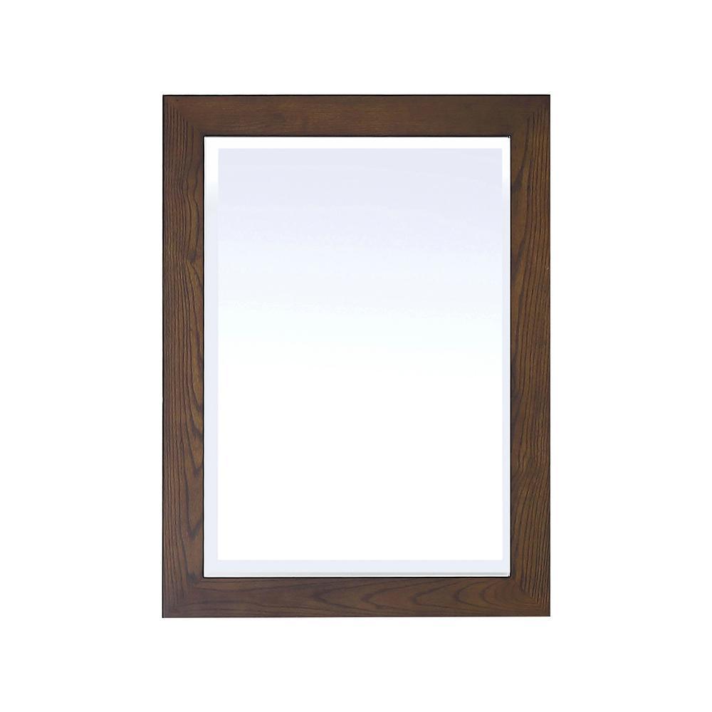 Grandburgh 24 in. W x 32 in. H Single Framed Wall Mount Mirror in Coffee Swirl