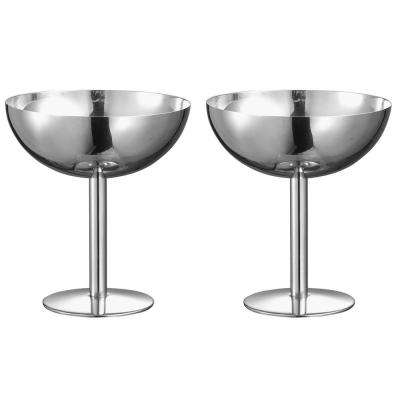 Isabelle 6 oz. Stainless Steel Cocktail Glass (Set of 2)