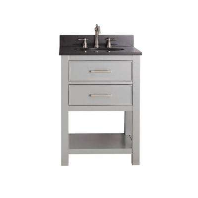 Brooks 24 in. W x 22 in. D x 35 in. H Vanity in Chilled Gray with Granite Vanity Top in Black with White Basin