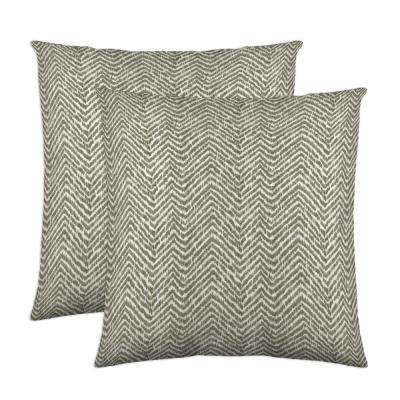 Citizen 18 in. x 18 in. Taupe Decorative Pillow (2-Pack)