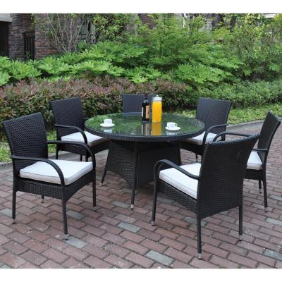 Narni 7-Piece All-Weather Wicker Circular Outdoor Dining Set with White Cushion