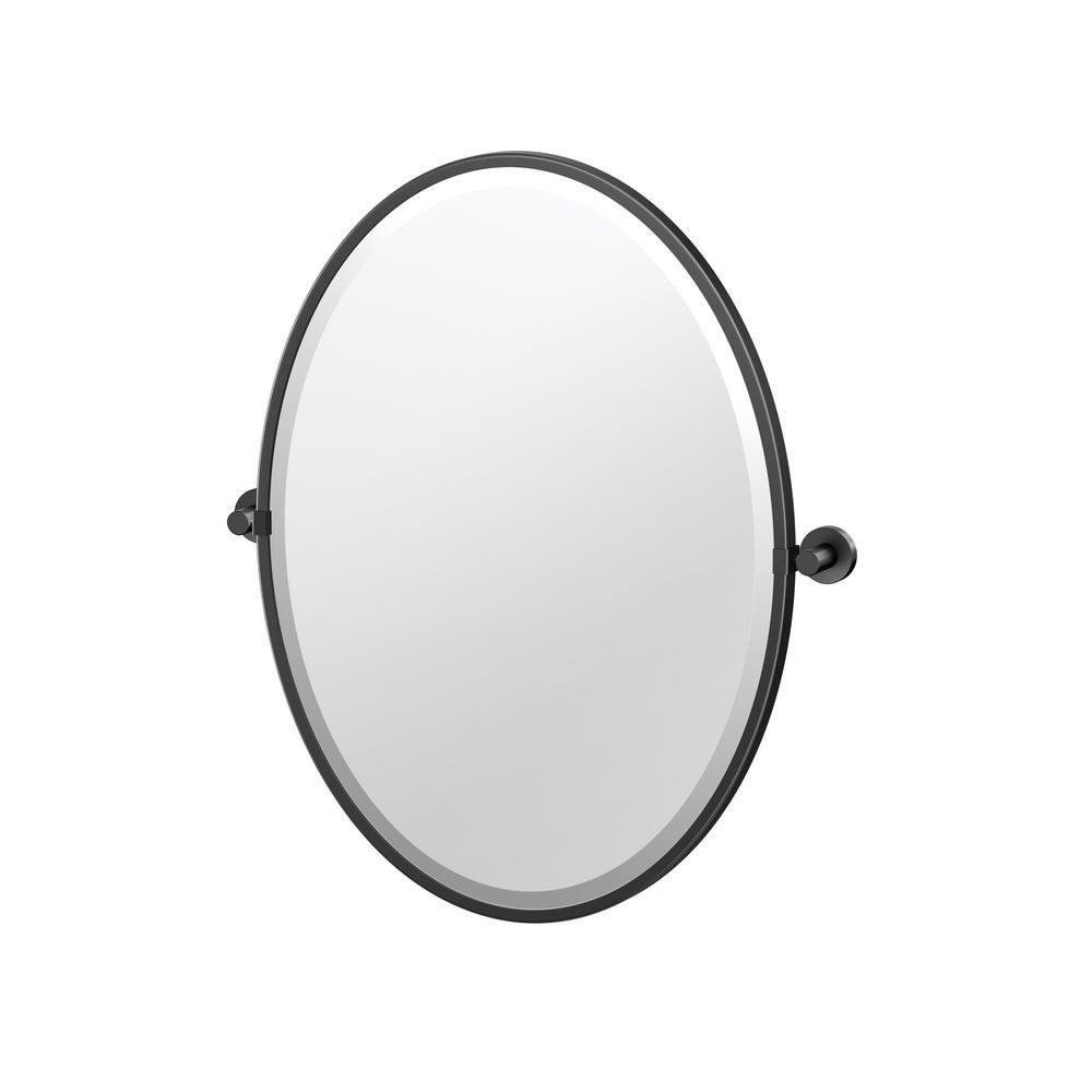 Glam 21 in. W x 28 in. H Framed Oval Mirror in Matte Black