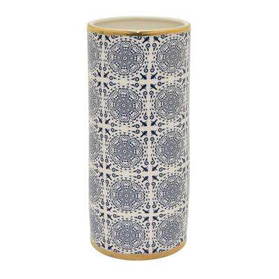 12 in. Porcelain Blue Vase with Gold Accent