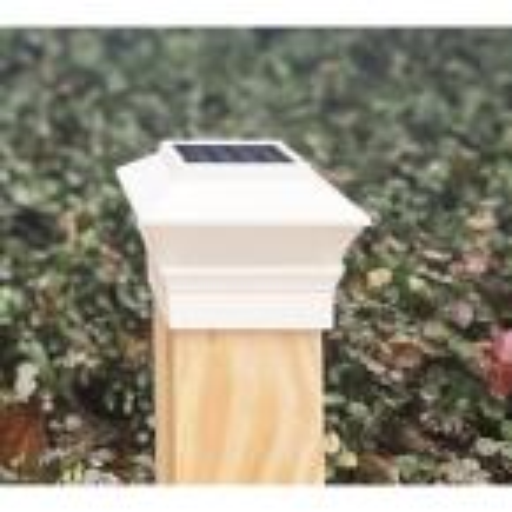 Relightable Solar 4 in. x 4 in. White Vinyl Outdoor Post Cap Deck Lights (4-Pack)