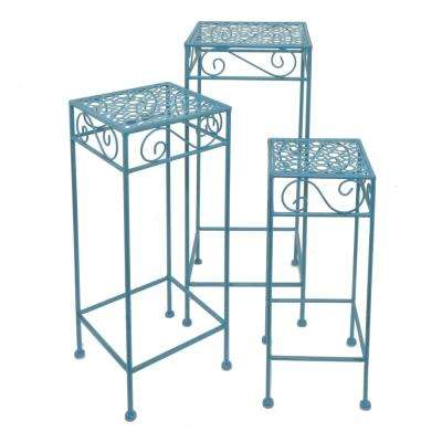Blue Metal Plant Stand (Set of 3)