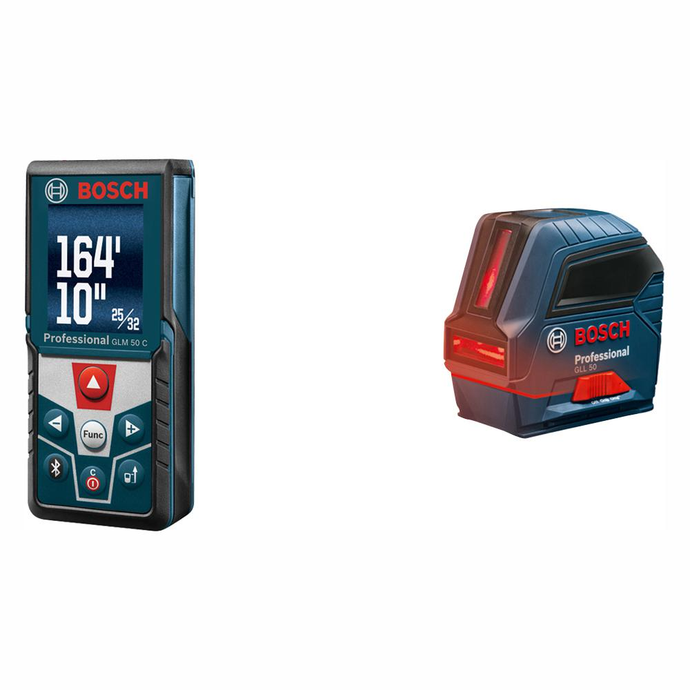 Bosch 165 Ft Laser Distance Measurer With Bluetooth And Full Color Display With Bonus 50 Ft Cross Line Laser Level Glm50cx Gll50 The Home Depot