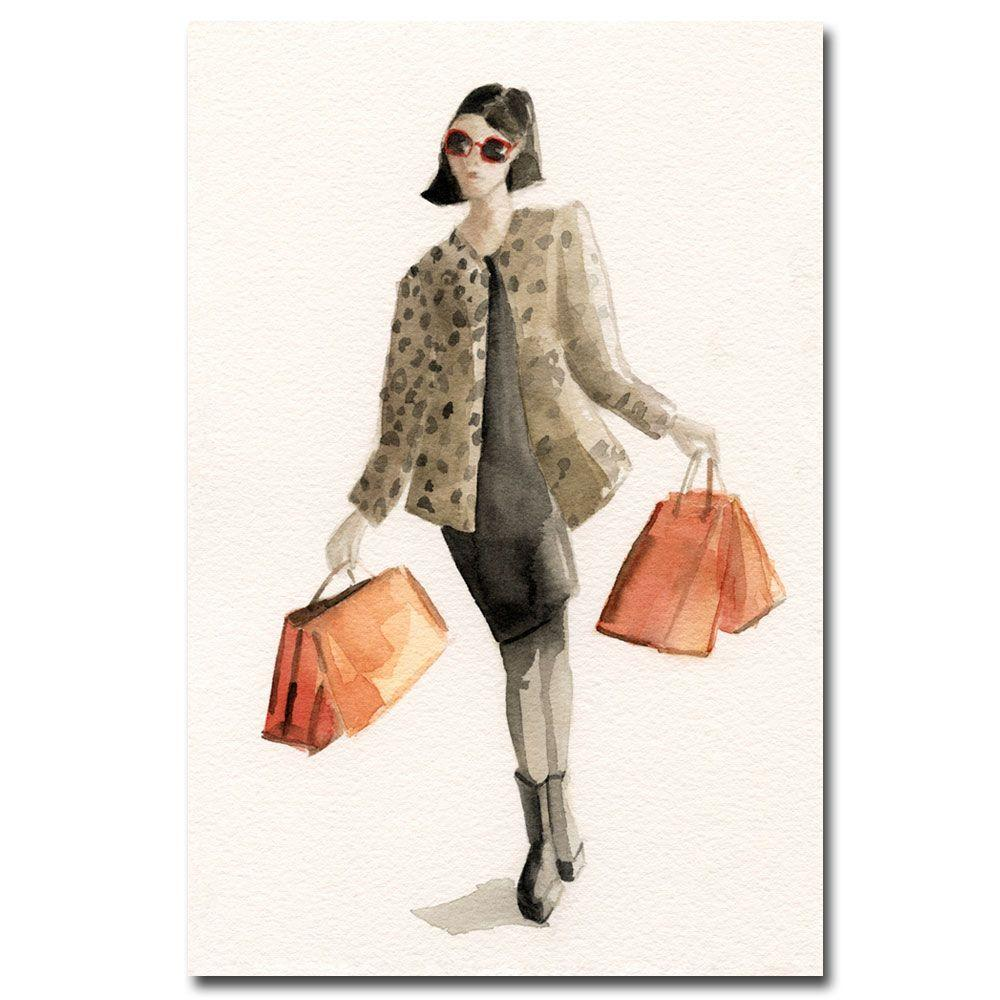 Trademark Fine Art 22 in. x 32 in. Woman Shopping Leopard Print Canvas Art-DISCONTINUED