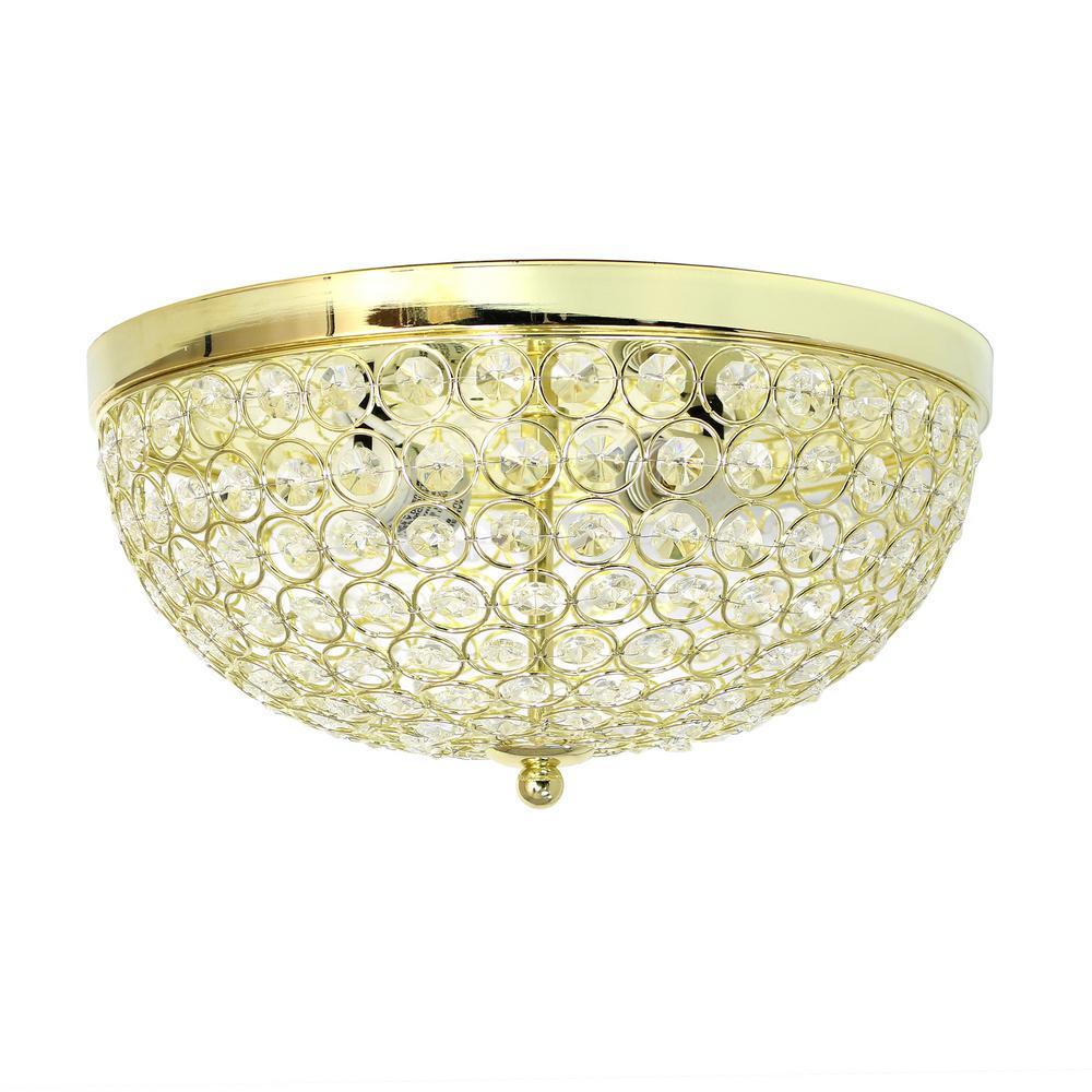 2-Light Elipse Gold Crystal Flush Mount Ceiling Light