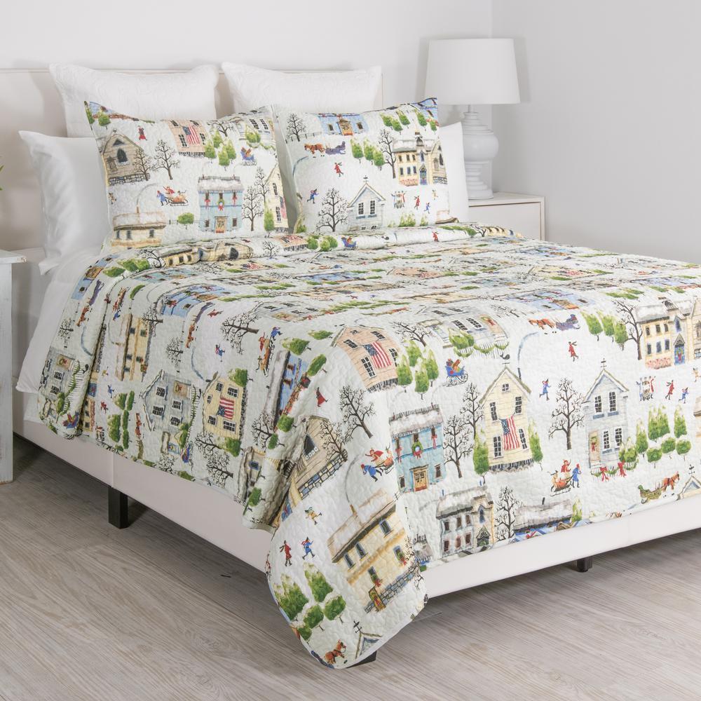 Holiday Village Multi King Quilt Set
