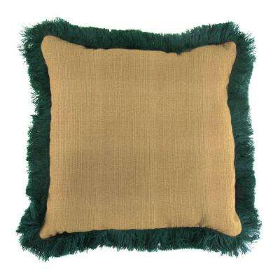 Sunbrella Linen Straw Square Outdoor Throw Pillow with Forest Green Fringe