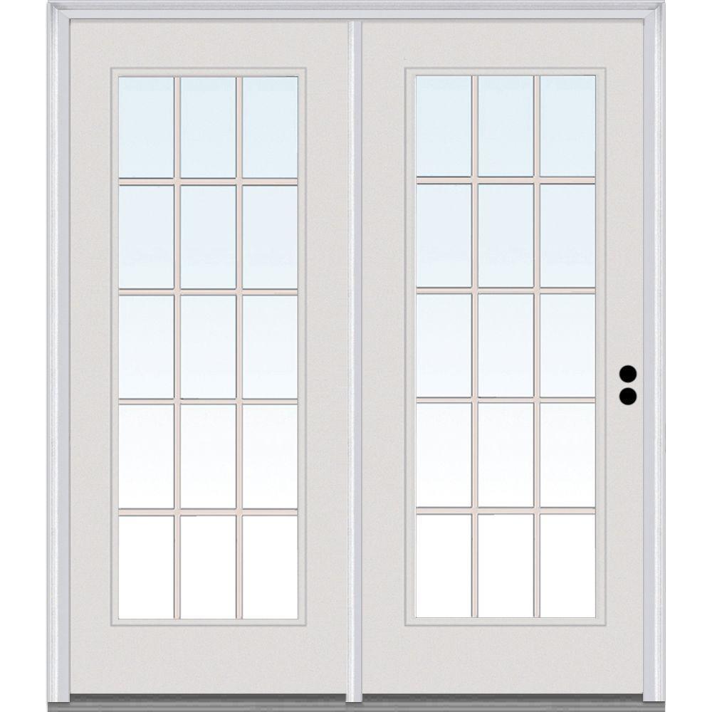 MMI Door 72 in. x 80 in. Grilles Between Glass Primed Fiberglass Smooth Prehung Left-Hand Inswing 15 Lite Stationary Patio Door