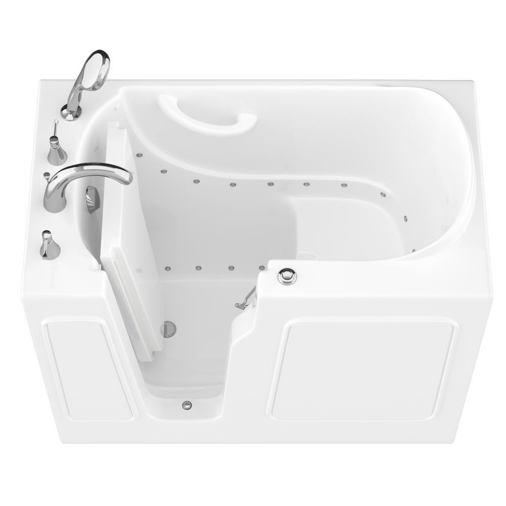 HD Series 26 in. x 46 in. Left Drain Quick Fill Walk-In Air Tub in White