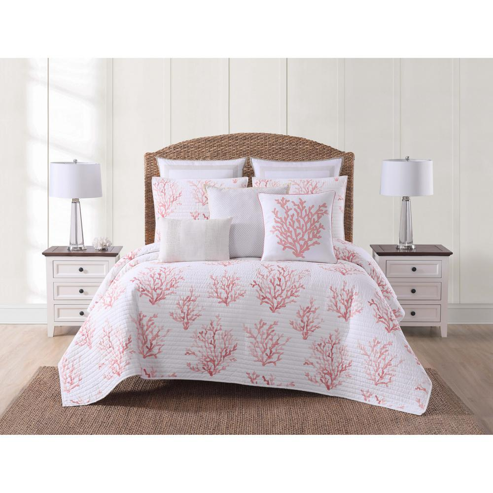 Cove Coral King Quilt Set, White And Coral
