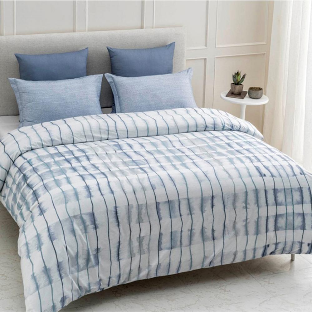 Echelon Wrinkle Resistant Reversible Print 100% Organic Cotton Blue Queen Duvet Cover Set