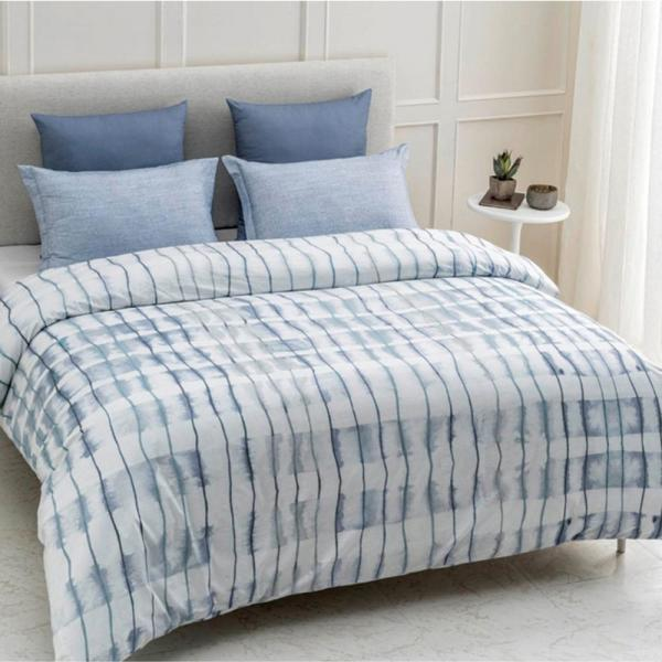 A1 Home Collections Echelon Wrinkle Resistant Reversible Print 100% Organic Cotton Blue Queen Duvet Cover Set