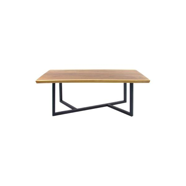 Stained Light Brown Suar and Iron Rectangular Dining Table