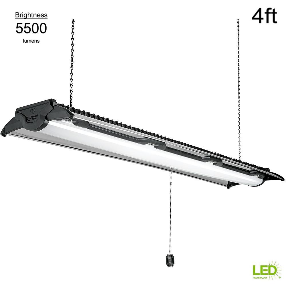 Heavy Duty Style 4 ft Black & Brushed Nickel 5500 Lumen High Output Integrated LED Linkable Shoplight