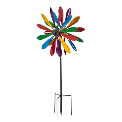 Color Explosion Chasing Lights 77 in. Solar Kinetic Wind Spinner