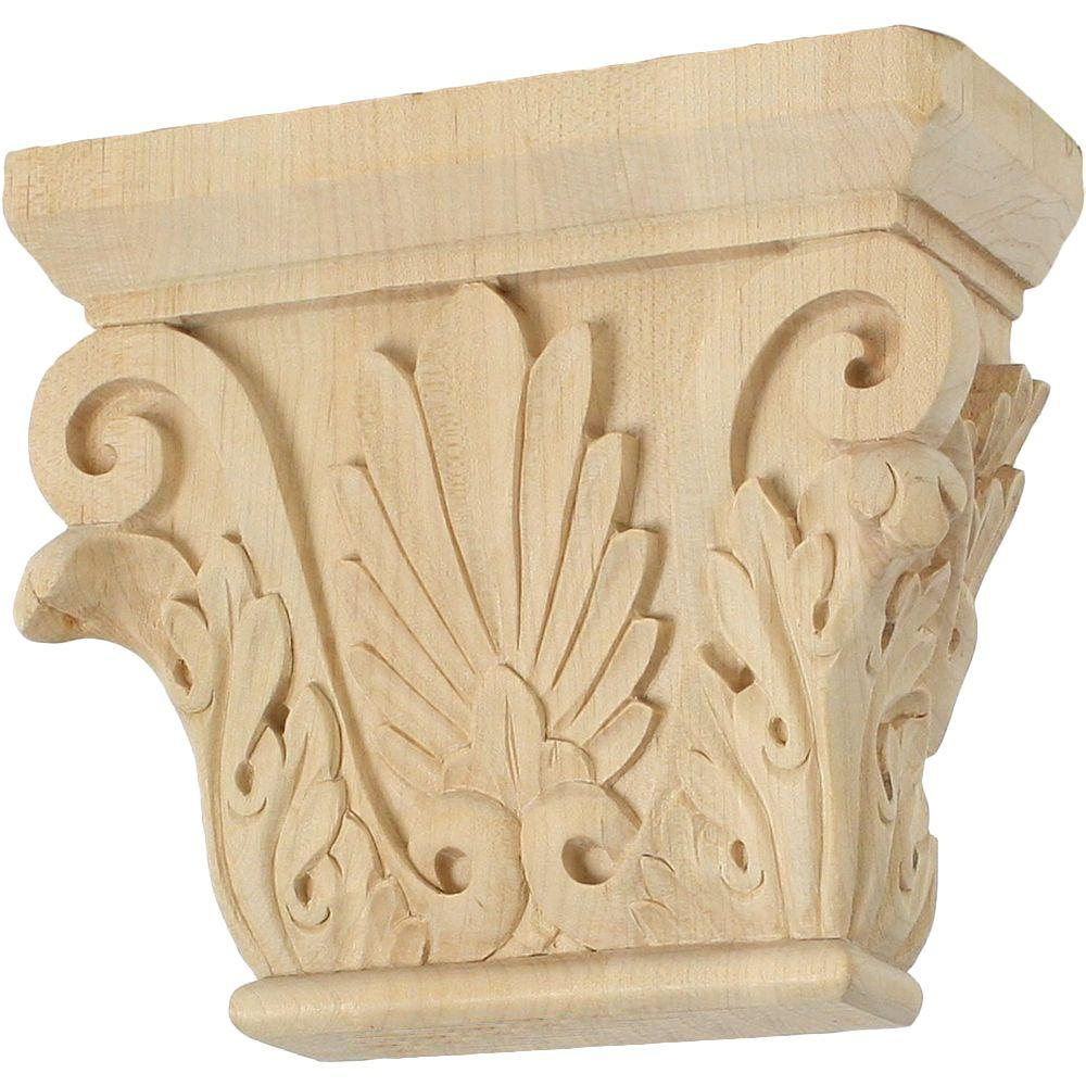 Ekena Millwork 2-1/2 in. x 6-1/2 in. x 5-1/2 in. Unfinished Wood Cherry Small Chesterfield Corbel