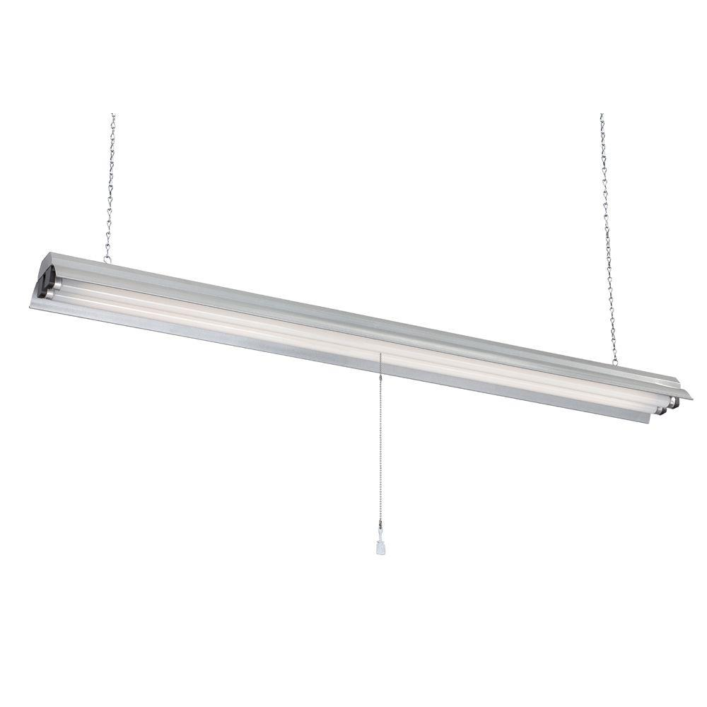 2 Light Gray Textured Fluorescent Shop Lights 48 In. Plug