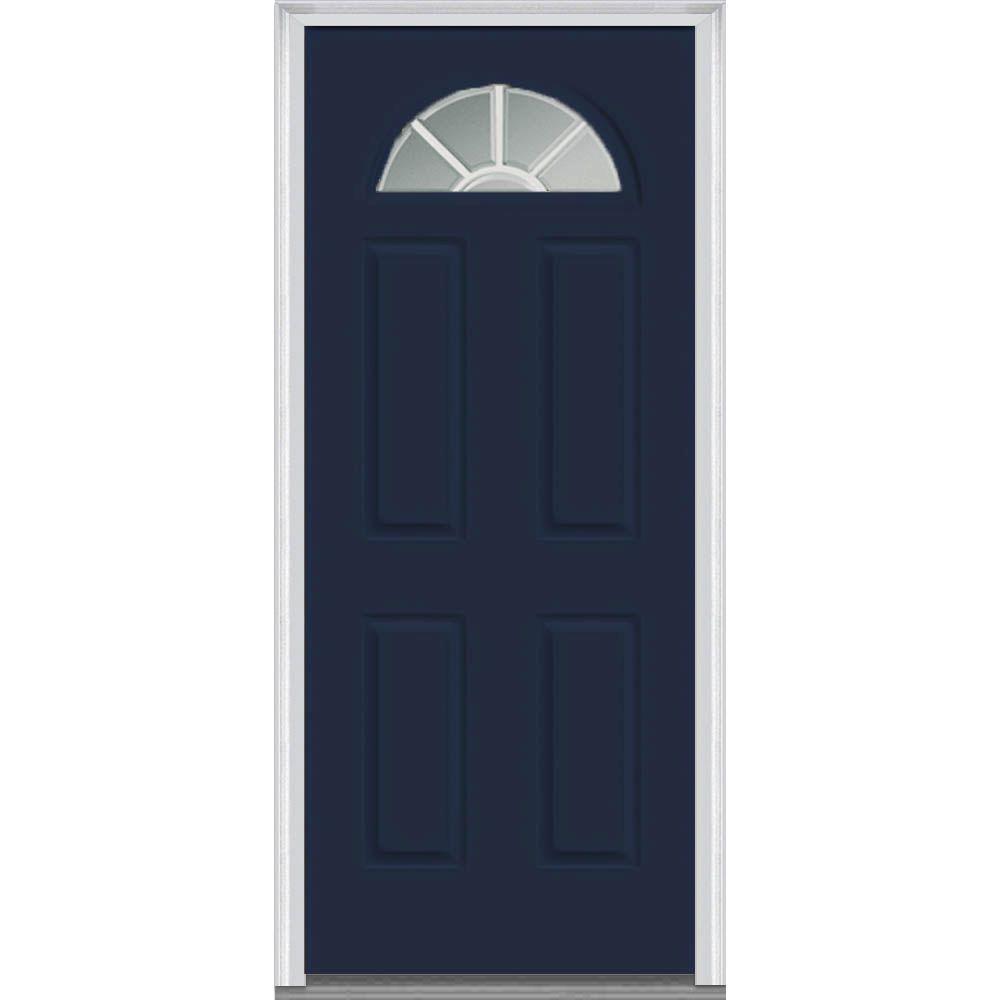 MMI Door 30 in. x 80 in. Grilles Between Glass Left-Hand Inswing 1/4-Lite Clear 4-Panel Classic Painted Steel Prehung Front Door