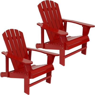 250 lbs. Capacity Red Wooden Outdoor Adirondack Chair with Adjustable Backrest (Set of 2)