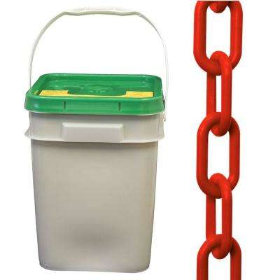 2 in. (#8, 51 mm) x 160 ft. Pail Red Plastic Chain