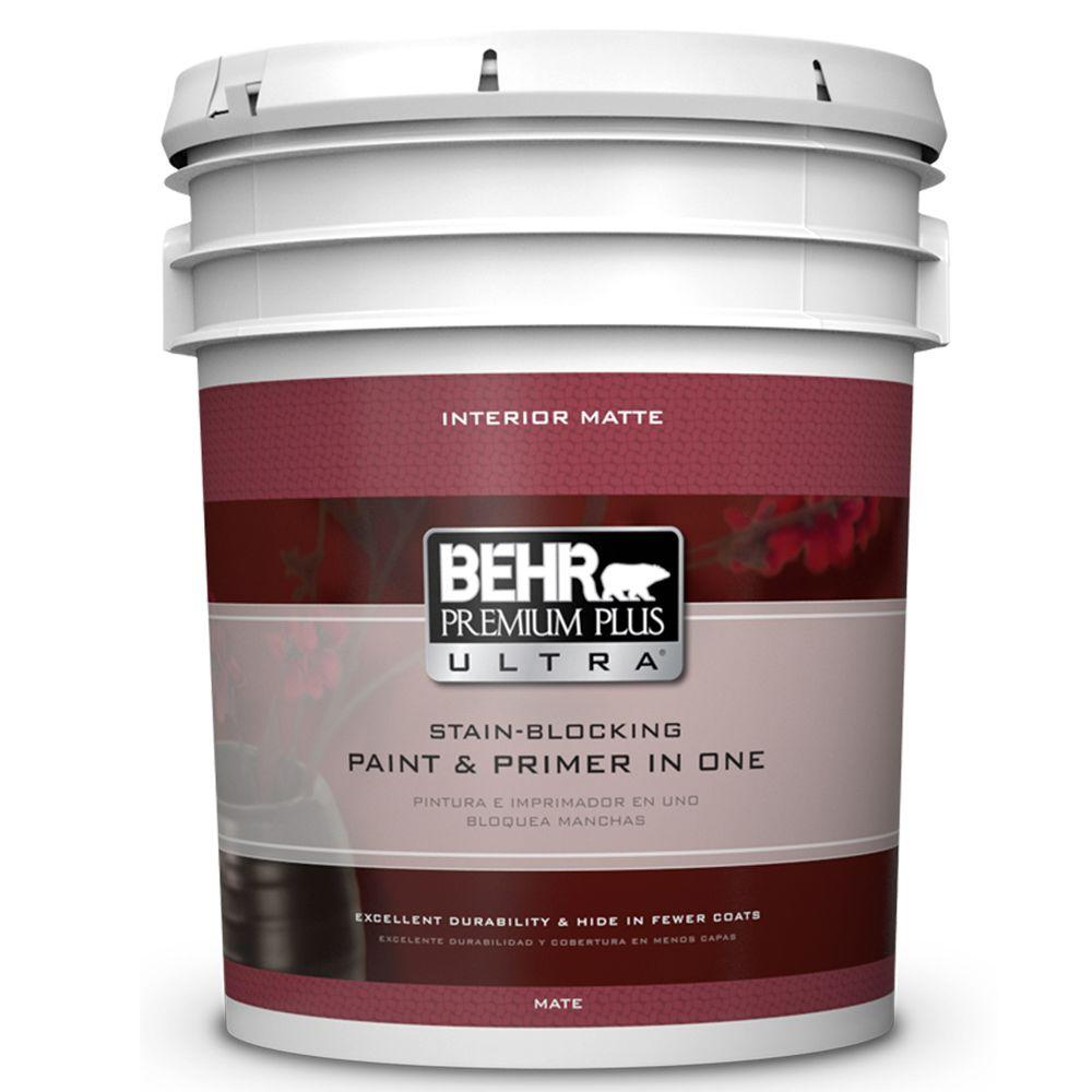 Behr premium plus ultra 5 gal ultra pure white flat interior paint and primer in one 115005 for Best interior paint and primer in one