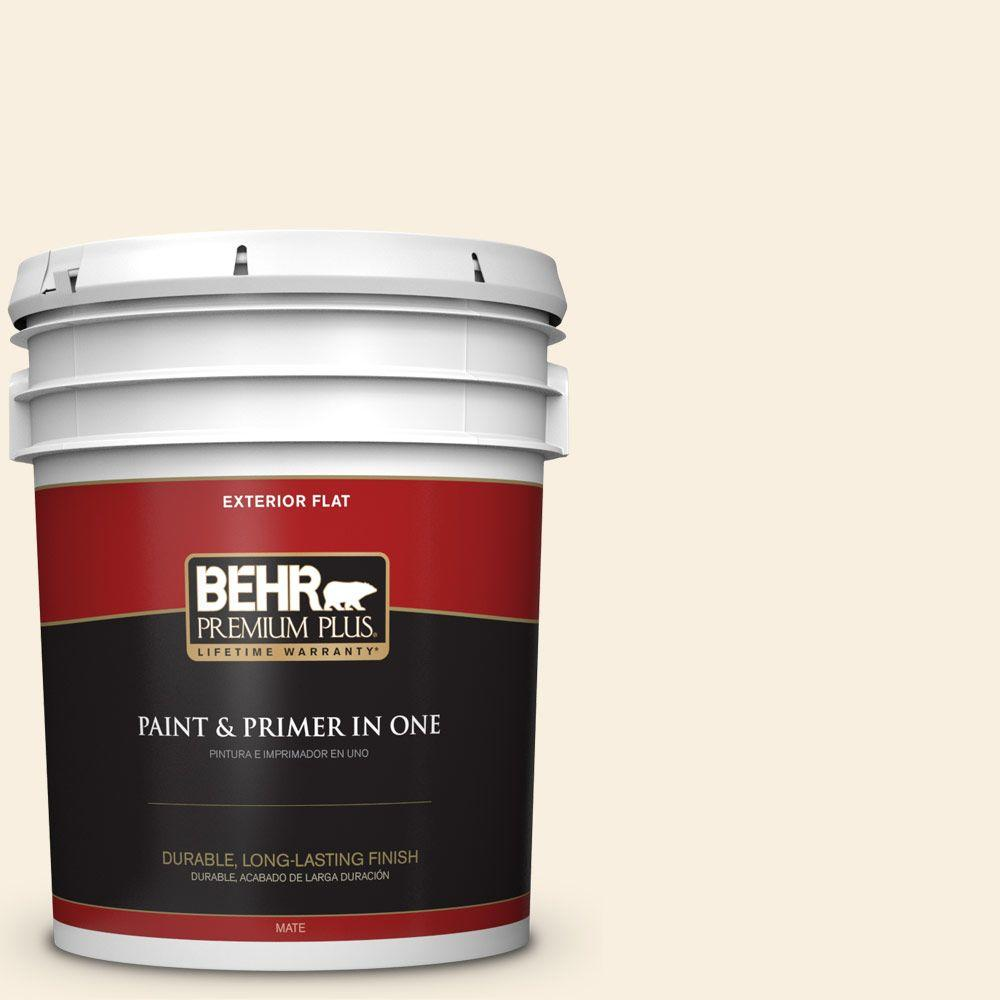 5-gal. #W-F-300 Cotton Whisper Flat Exterior Paint