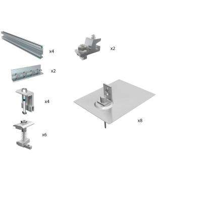 Direct Mount Racking System for (4) 60 Cell PV Solar Panels with Asphalt Shingle