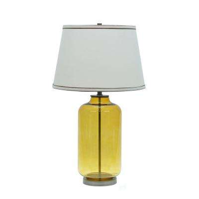 26-1/2 in. Amber Glass Table Lamp with Empire Shaped Lamp Shade in Off White