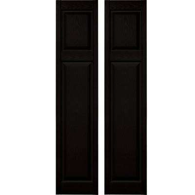 15 in. x 67 in. Cottage Style Vinyl Exterior Raised Panel Shutters Pair #002 Black