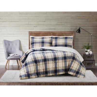 Cuddle Warmth Printed Plaid Blue and Grey Full/Queen Comforter Set