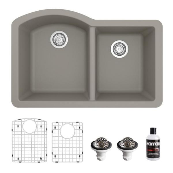 QU-610 Quartz/Granite Composite 32 in. Double Bowl 60/40 Undermount Kitchen Sink with Grid & Basket Strainer in Concrete