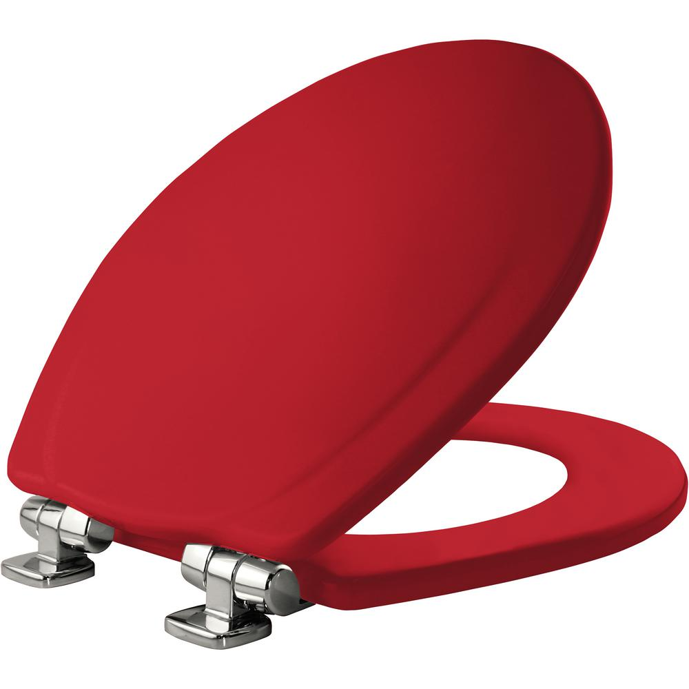 Chrome Slow Close Round Closed Front Toilet Seat In Red