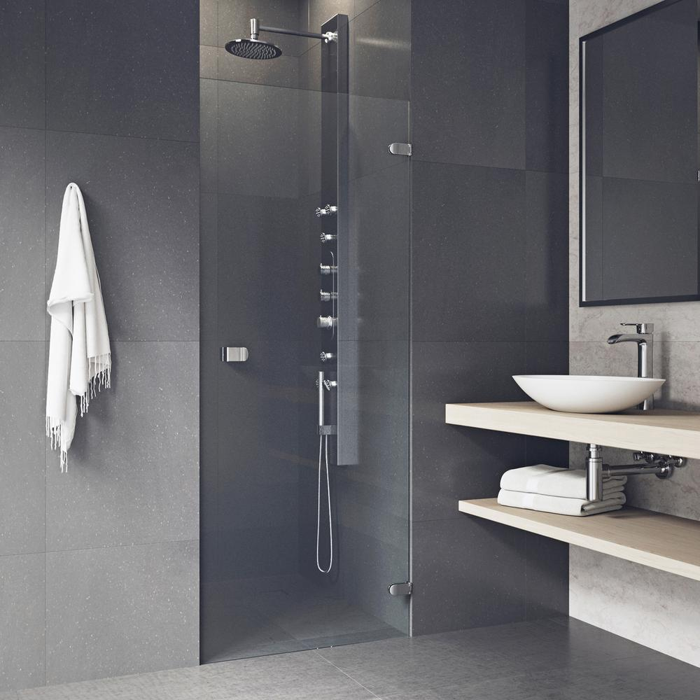 vigo tempo 24 in to 24 5 in x in frameless pivot shower door with hardware in chrome. Black Bedroom Furniture Sets. Home Design Ideas