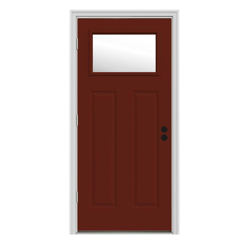JELD-WEN 32 in. x 80 in. 1 Lite Craftsman Mesa Red Painted Steel Prehung Right-Hand Outswing Front Door w/Brickmould