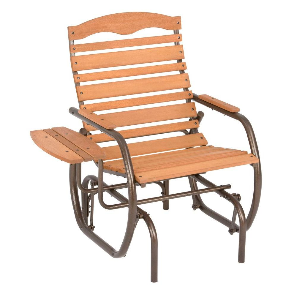 Country Garden Natural Patio Glider Chair With Trays