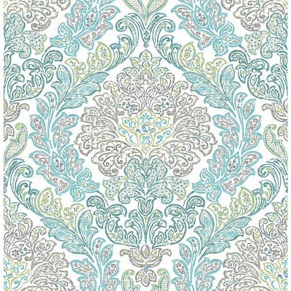 A-Street Fontaine Teal Damask Wallpaper 2702-22742