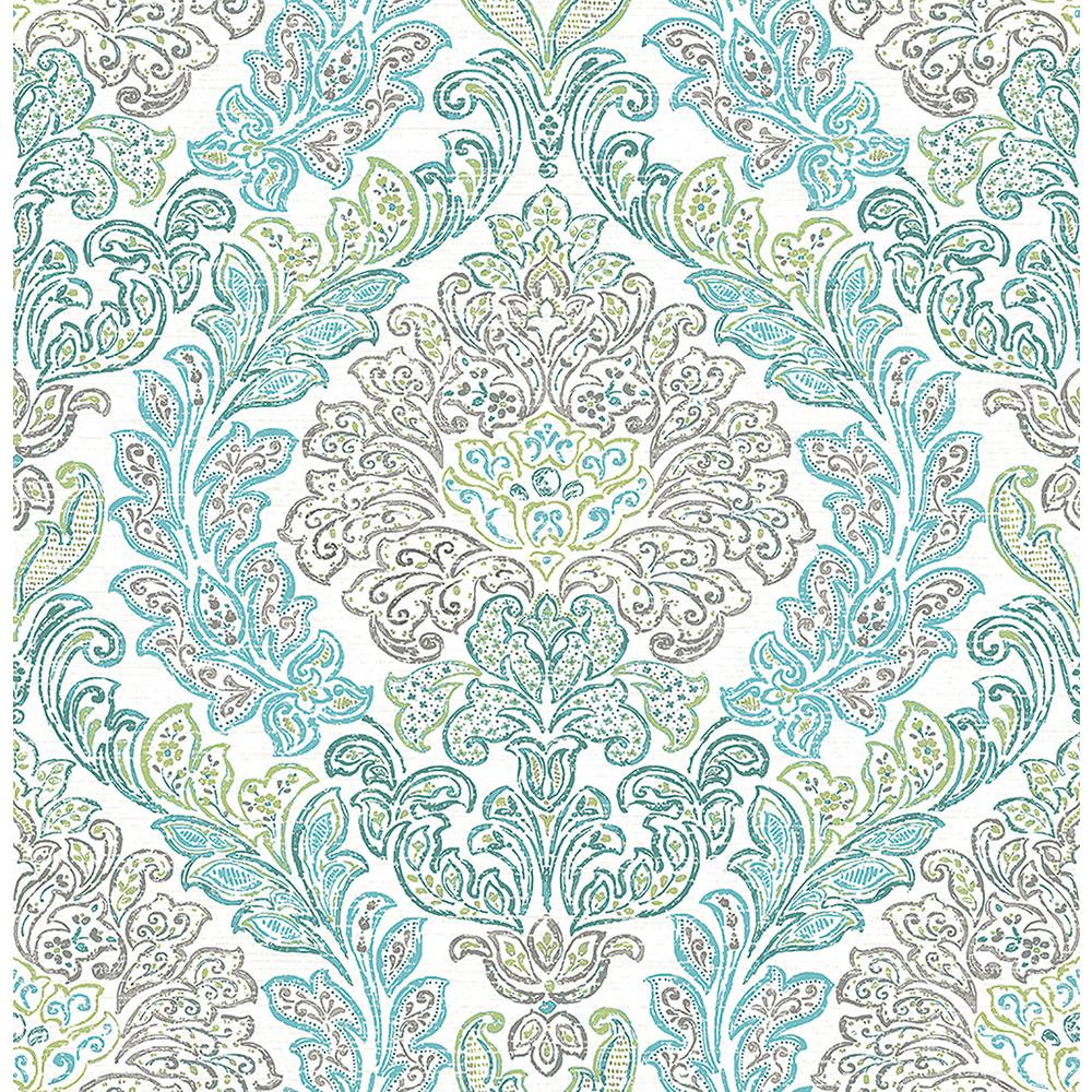 Graham brown majestic teal removable wallpaper 30 435 for Wallpaper samples