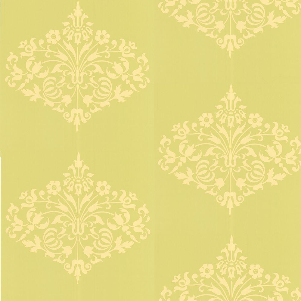 Graham brown fountain yellow wallpaper 50 128 the home for Yellow wallpaper home depot
