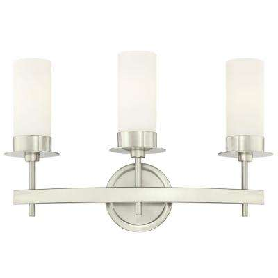 Roswell 3-Light Brushed Nickel Wall Mount Bath Light