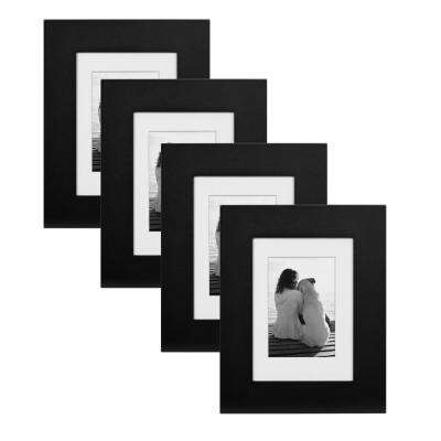 Museum 5 in. x 7 in. Matted to 3.5 in. x 5 in. Black Picture Frame (Set of 4)