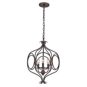 3-Light Rubbed Oil Bronze Pendant with Metal Shade
