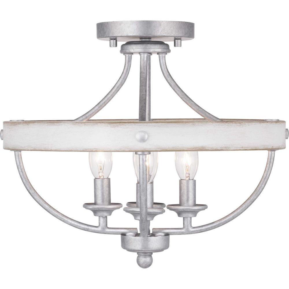 Gulliver Collection 4-Light Galvanized Semi- Flush Mount