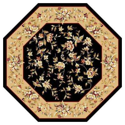Traditional Florals Black 7 ft. 7 in. x 7 ft. 7 in. Octagon Area Rug