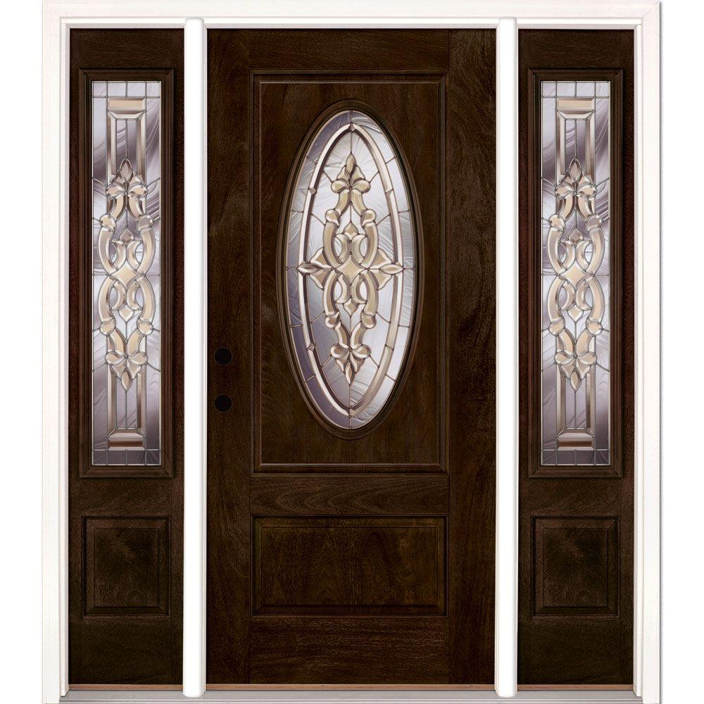 Feather River Doors 63.5 in.x81.625in.Silverdale Zinc 3/4 Oval Lt Stained Chestnut Mahogany Rt-Hd Fiberglass Prehung Front Door w/ Sidelites