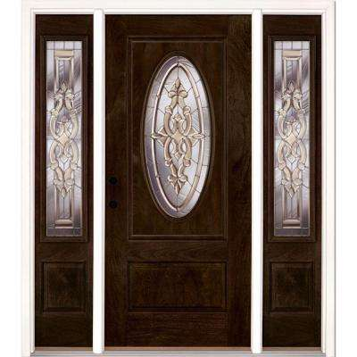 63.5 in.x81.625in.Silverdale Zinc 3/4 Oval Lt Stained Chestnut Mahogany Rt-Hd Fiberglass Prehung Front Door w/ Sidelites